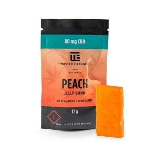 medical cannabis medical marijuana products CBD Peach Jelly Bomb Twisted Extracts