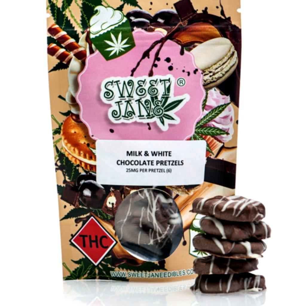 Read more on Sweet Jane Pretzels Milk + White Chocolate  – 150 mg THC
