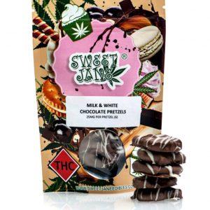 medical cannabis medical marijuana products Sweet Jane Milk + White Chocolate Pretzels - 150 mg THC
